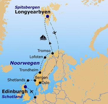 routekaartje Rondreis Schotland naar Spitsbergen