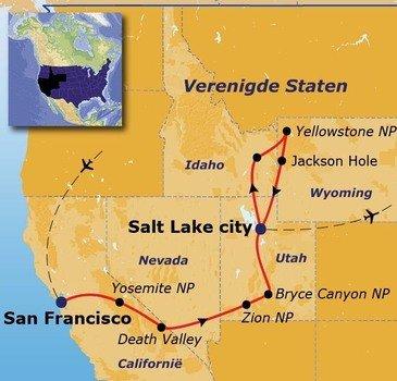 routekaartje Rondreis Verenigde Staten Eclipse Pop-Up