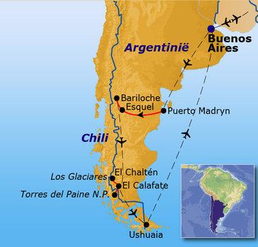 routekaartje Groepsrondreis Patagonië