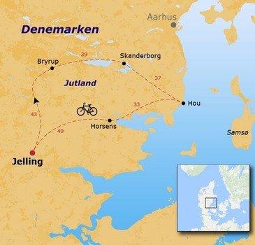 routekaartje Fietsvakantie Jutland voor families