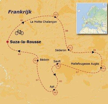 routekaartje Fietsvakantie Rond de Mont Ventoux