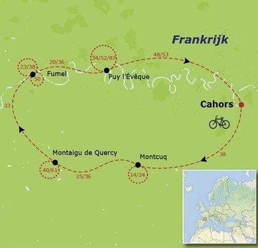 routekaartje Fietsvakantie Frankrijk - Vallei van de Lot (families, alle leeftijden)