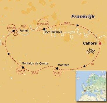 routekaartje Fietsvakantie Frankrijk - Vallei van de Lot