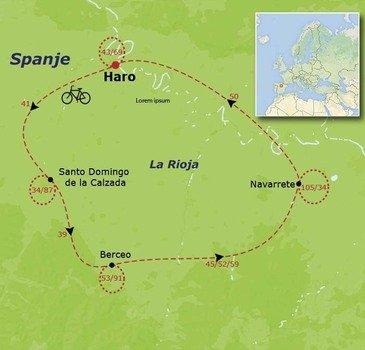 routekaartje Fietsvakantie Spanje - La Rioja families