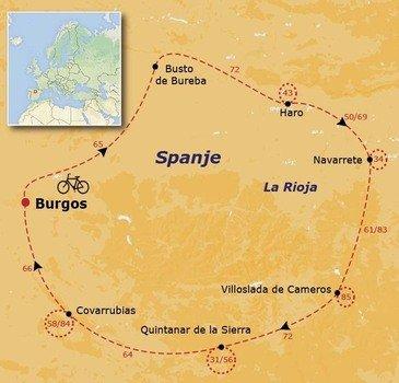 routekaartje Fietsvakantie Spanje - La Rioja en Burgos