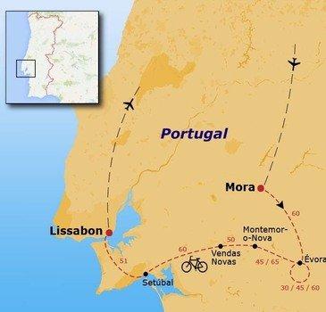routekaartje Fietsvakantie Portugal - Setúbal (hotel)