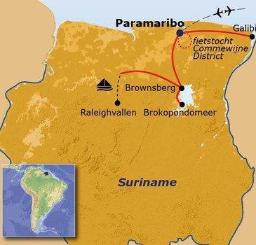 routekaartje Rondreis Suriname Pop-Up