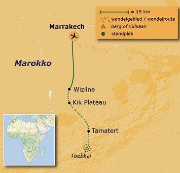 routekaartje Wandelvakantie Marokko - naar de top van de Toebkal