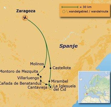 routekaartje Wandelvakantie Spanje  - Maestrazgo-gebergte