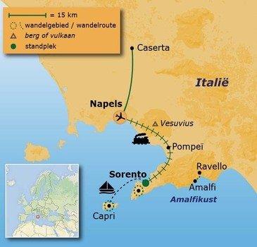 routekaartje Wandelvakantie Italië  - Baai van Napels