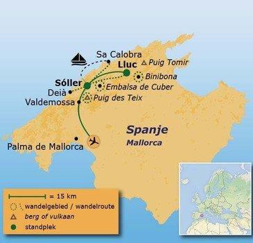 routekaartje Wandelvakantie Spanje - Mallorca