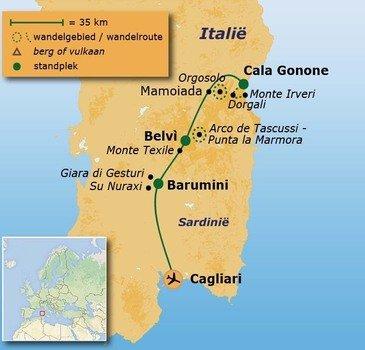 routekaartje Wandelvakantie Italië - Sardinië