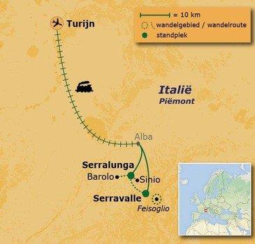 routekaartje Wandelvakantie Italië - Piemonte