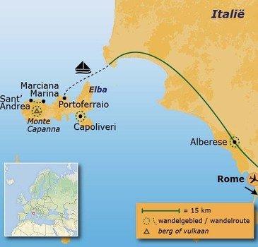 routekaartje Wandelvakantie Italië - Elba en de Toscaanse kust