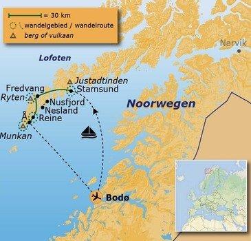 routekaartje Wandelvakantie Noorwegen - Lofoten