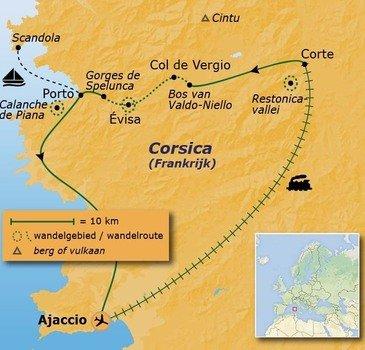 routekaartje Wandelvakantie Frankrijk - Corsica