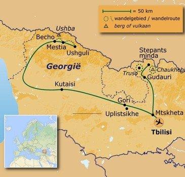 routekaartje Wandelvakantie Georgië