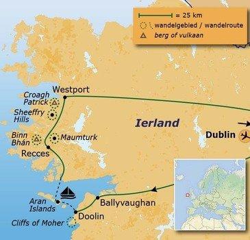 routekaartje Wandelvakantie Ierland - Burren, Connemara & Aran Islands