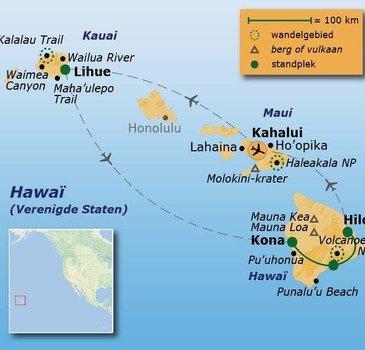 routekaartje Wandelvakantie Verenigde Staten - Hawaï