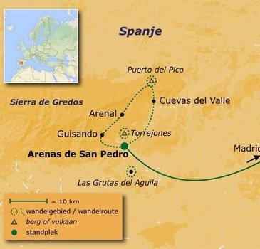 routekaartje Wandelvakantie Spanje - Op stap in de Sierra de Gredos