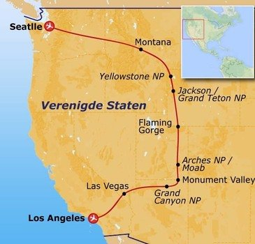 routekaartje Groepsrondreis in internationaal gezelschap Mountain Trail 18 - 38 jaar