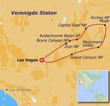 routekaartje Groepsrondreis in internationaal gezelschap Canyon Adventure 18 - 38 jaar