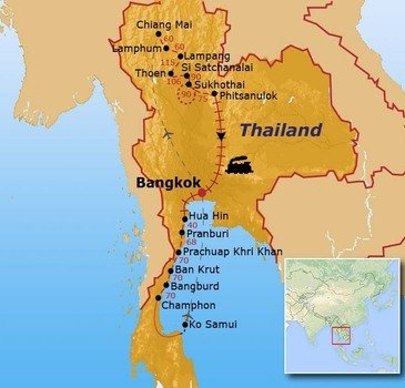 routekaartje Fietsvakantie Thailand (hotel)