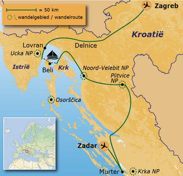 routekaartje Wandelvakantie Kroatië - De Dinarische Alpen