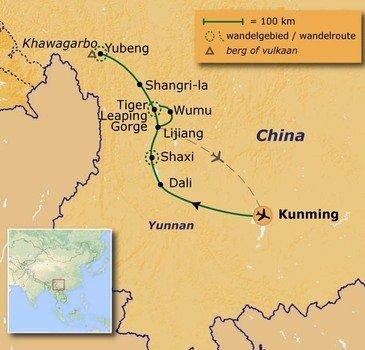 routekaartje Wandelvakantie Yunnan, China's mooiste provincie