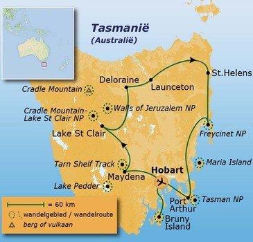 routekaartje Wandelvakantie Australië - Tasmanië