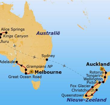 routekaartje Rondreis Australië & Nieuw-Zeeland