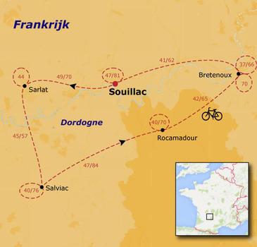 routekaartje Fietsvakantie Fietsvakantie Frankrijk - Dordogne families