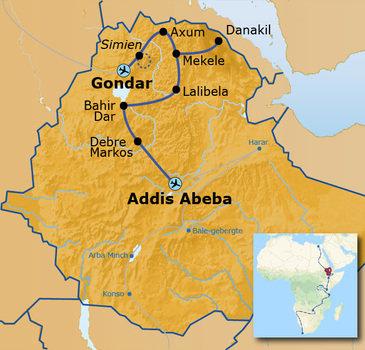 routekaartje Groepsrondreis met Dragoman door Noord-Ethiopië