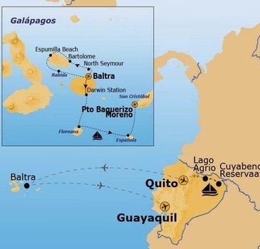 routekaartje Rondreis Amazone en Galapagos Pop Up