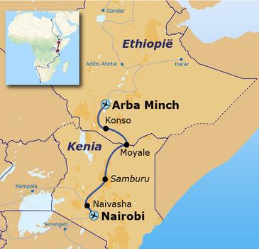 routekaartje Groepsrondreis met Dragoman door Ethiopië en Kenia