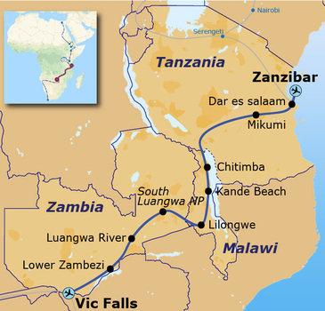 routekaartje Rondreis met Dragoman door Tanzania, Malawi, Zambia en Zimbabwe