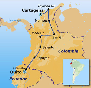routekaartje Rondreis met Dragoman door Colombia en Ecuador
