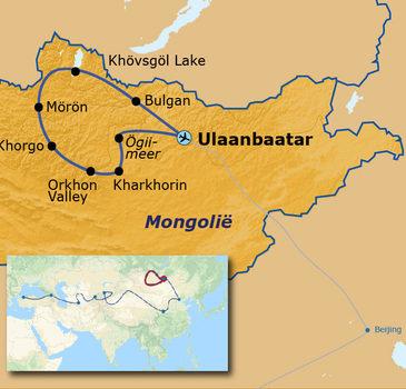routekaartje Groepsrondreis met Dragoman door Mongolië