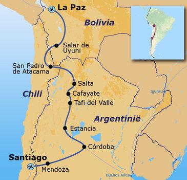routekaartje Rondreis met Dragoman door Bolivia en Argentinië