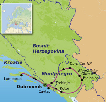 routekaartje Familiereis Balkan