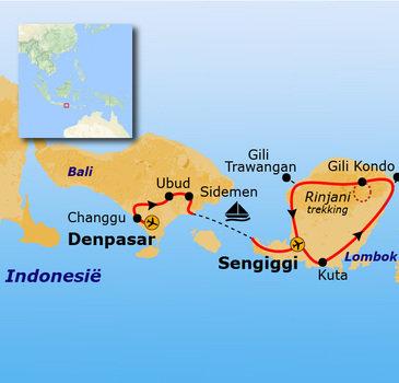 routekaartje 22-35ers reis Indonesië: Bali en Lombok