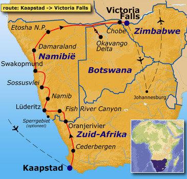 routekaartje Groepsrondreis Zuidelijk Afrika - kampeerreis