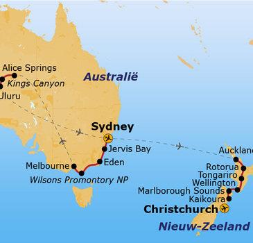 Route Australië & Nieuw-Zeeland