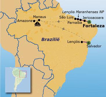 routekaartje Familiereis Brazilië