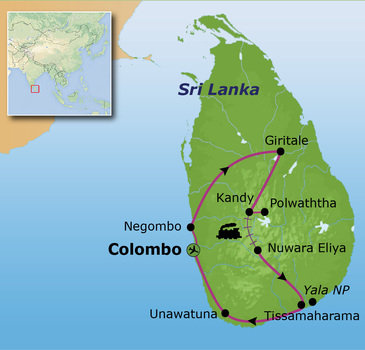 Route Sri Lanka reis, 16 dagen
