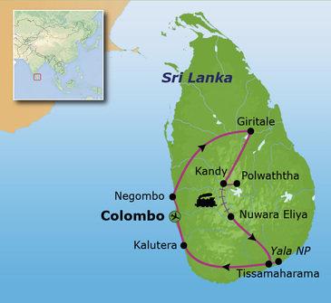 Route Sri Lanka, vertrek 22 december 2018