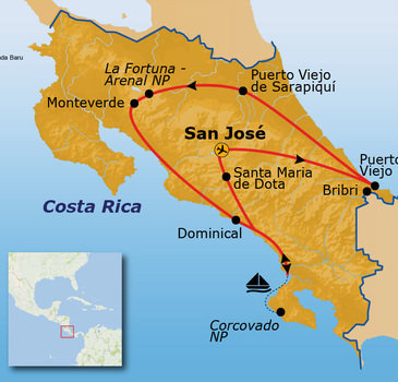 routekaartje Rondreis Costa Rica duurzaam
