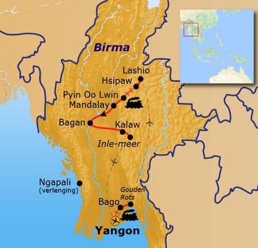 Route Birma/ Myanmar reis, 25 dagen
