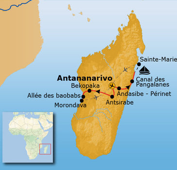 routekaartje Rondreis Madagascar Pop-Up