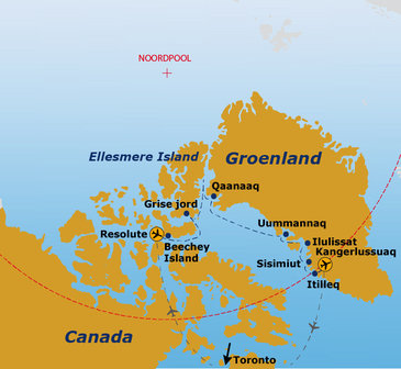 route Canada en Groenland, 18 dagen